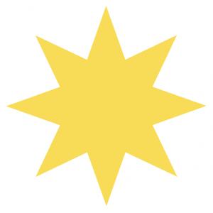 Riverfront Children's Center yellow star burst graphic
